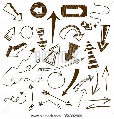 Set Of 31 Doodle Arrow Vectors, Isolated On A White Background