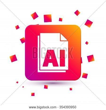 White Ai File Document. Download Ai Button Icon Isolated On White Background. Ai File Symbol. Square