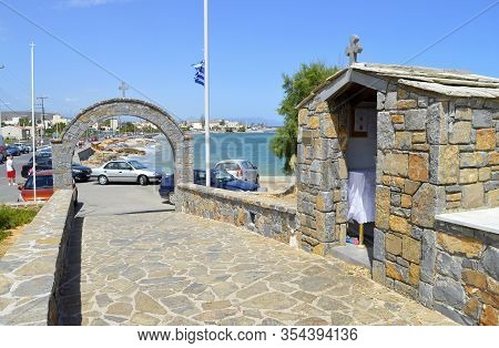 Gouves, Crete, Greece - June 2, 2019 : Greek Prayer Room Outside Of The Church Of Saints Constantine