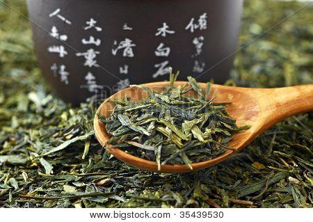 Green Tea On Wooden Spoon