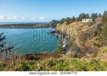 Cliffs At Cape Disappointment State Park In Washington State.