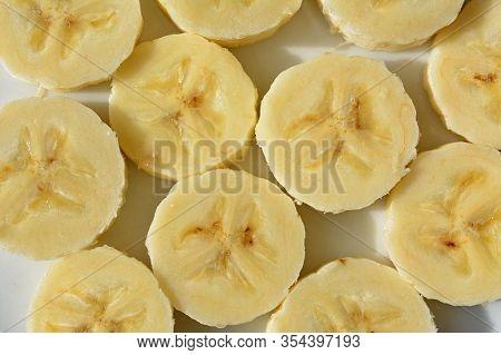 Banana Picture, Yellow Bananas, Banana On White Background. Banana Fruit Close Up, Tropical Yellow P