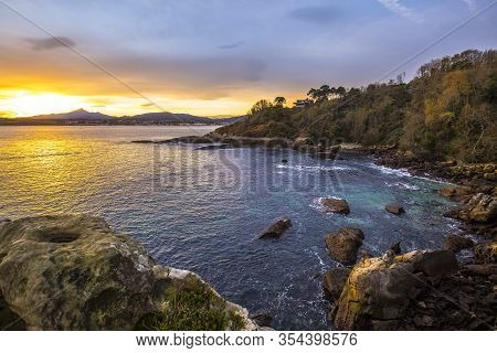 Playa De Los Frailes At Dawn In The Town Of Fuenterrabia. Basque Country
