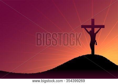 Jesus Christ Crucifixion Scene On Dusk And Sun Rays