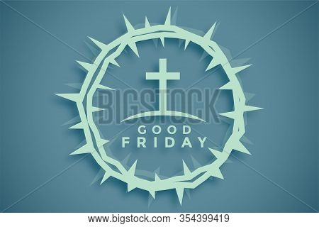 Crown Of Thorns With Cross Good Friday Background