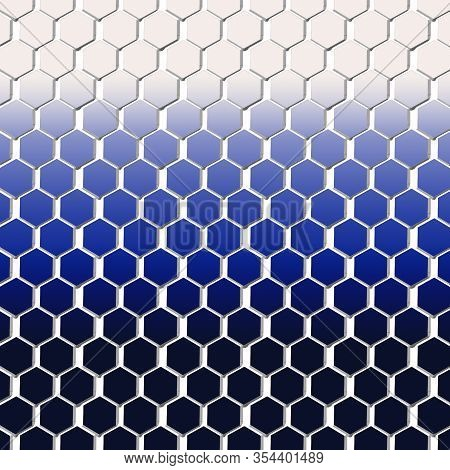 Blue Honeycomb Texture From Dark Navy Blue, Medium Blue To Ecru.  12x12 Digital Background For Page