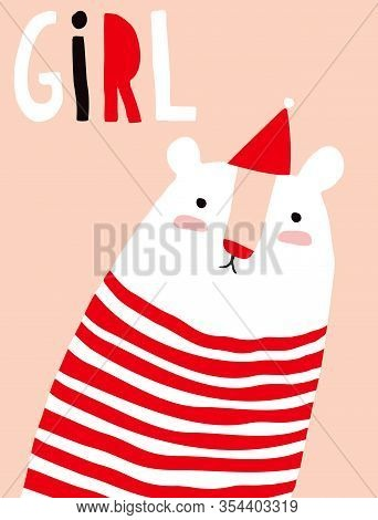 Sweet Infantile Style Nursery Art With Funny Polar Bear Wearing Red-white Striped Jumper.cute Baby S
