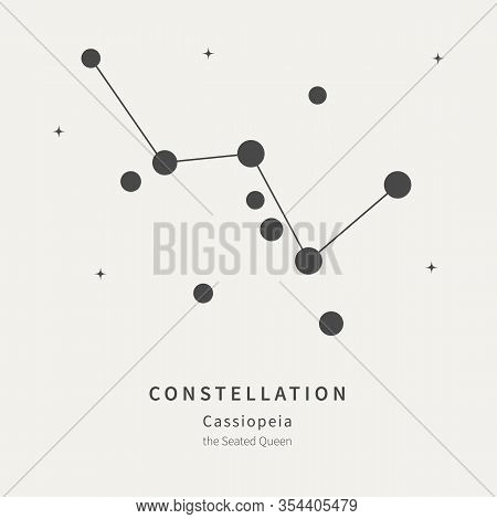 The Constellation Of Cassiopeia. The Seated Queen - Linear Icon. Vector Illustration Of The Concept
