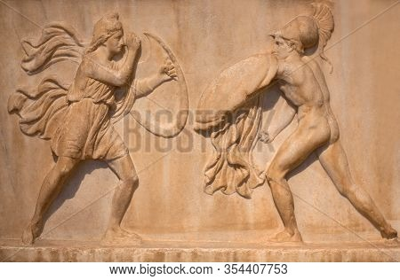 Ancient Greek Marble Bas-relief Of Funerary Stele Depicting An Amazonomachy - Mythical Battles Betwe