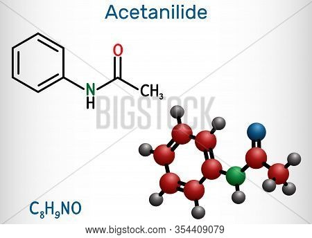 Acetanilide, C8h9no, Drug Molecule. It Has Analgesic And Fever-reducing Properties. Structural Chemi
