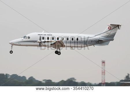 Fairford / United Kingdom - July 12, 2018: Swiss Air Force Beechcraft Beech 1900d T-729 Transport Pl