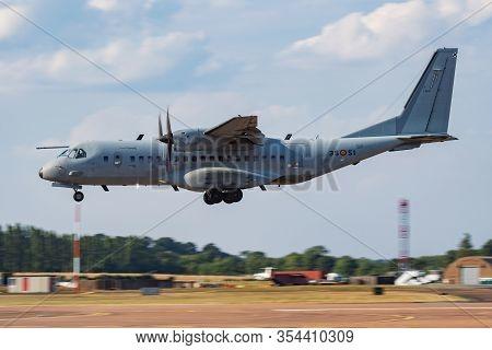 Fairford / United Kingdom - July 12, 2018: Spanish Air Force Casa C-295 T21-13 Transport Plane Arriv
