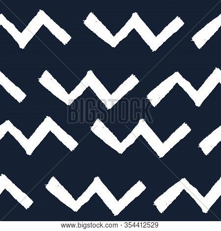 Blue Geometric Abstract V Shaped Line Pattern. Seamless Repeat. Blue V Shapes With White Background.
