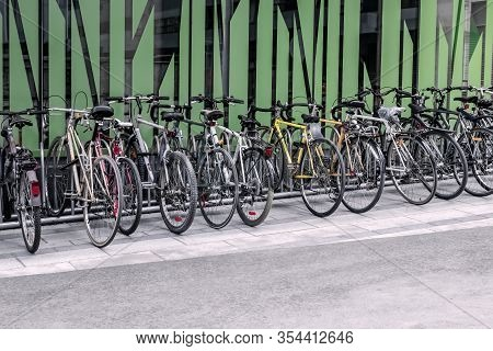 Bicycles Near A Green Wall. Eco-friendly Transportation. Montreal (quebec, Canada).