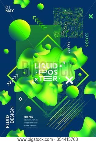 Abstract Creative Futuristic Poster With Vibrant Gradient Shapes. Placard With Fluid Elements, Moder