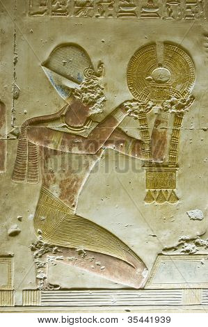 Ancient Egyptian Pharoah with Necklace