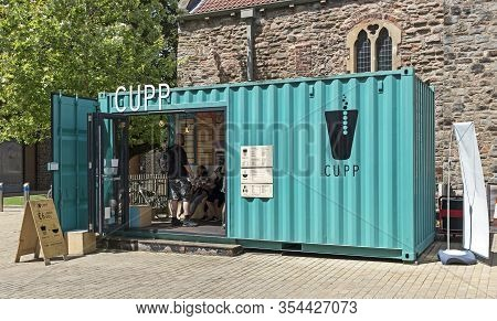 Bristol, Uk - July 5, 2016: A Café In A Shipping Container
