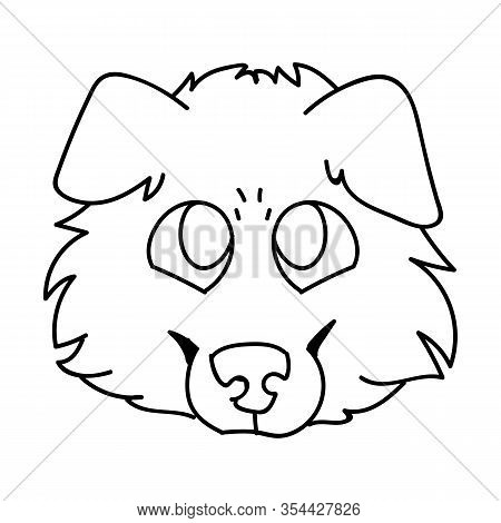 Cute Cartoon Rough Collie Puppy Dog Face Monochrome Vector Clipart. Pedigree Kennel Sheepdog Lineart