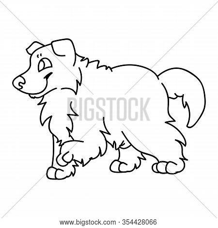 Cute Cartoon Rough Collie Puppy Dog Monochrome Vector Clipart. Pedigree Kennel Sheepdog Lineart. Pur