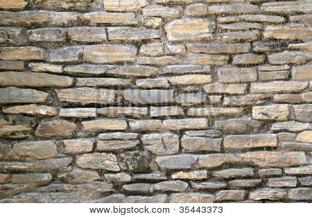 Stacked Flat Stone Block Wall
