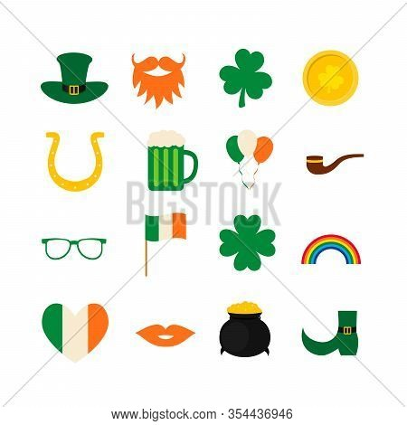 St. Patrick S Day Symbol Icons And Photo Booth Props Set Green Hat, Shamrock, Treasure Of Leprechaun