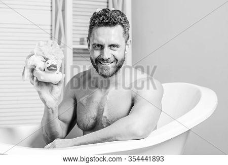 Playful Mood. Macho Enjoy Bath. Sexy Man In Bathroom. Sex And Relaxation Concept. Man Wash Muscular