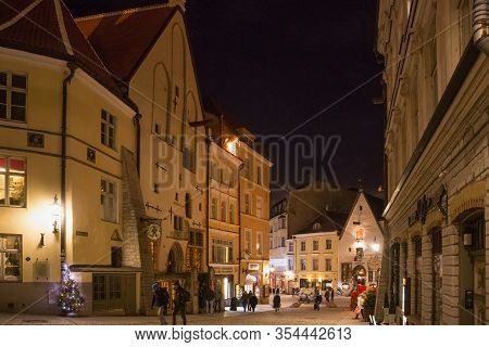 Tallinn, Estonia - January 12, 2018: Night Winter View Of The Old Buildings In The Historical Part O