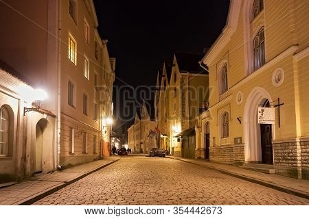 Tallinn, Estonia - January 12, 2018: Night View Of The Old Buildings In The Historical Part Of Talli