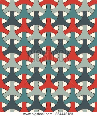 Seamless Pattern With Traditional Japanese Ornament. Bishamon Armor Motif. Repeated Interlocking Fig