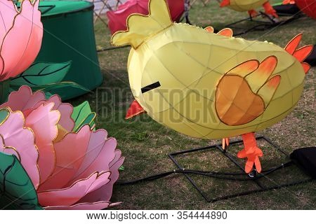 Hong Kong - March 3, 2018: Chinese Lanterns Decoration For Festive Celebration On March 3, 2018 In T