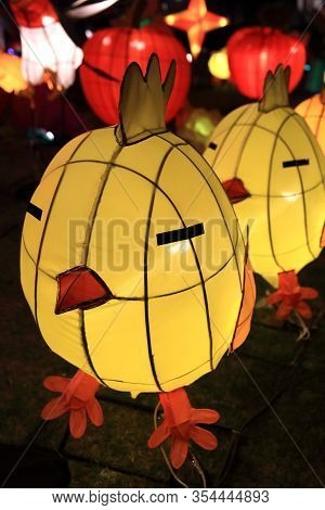 Hong Kong - March 3, 2018: Chinese Lanterns Light Up To Celebrate The Chinese Valentine's Day, On Ma
