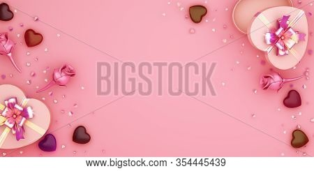 Happy Valentines Day, Valentines Day Background, Pink Rose Flower Heart Shape Gift Box , Chocolate C