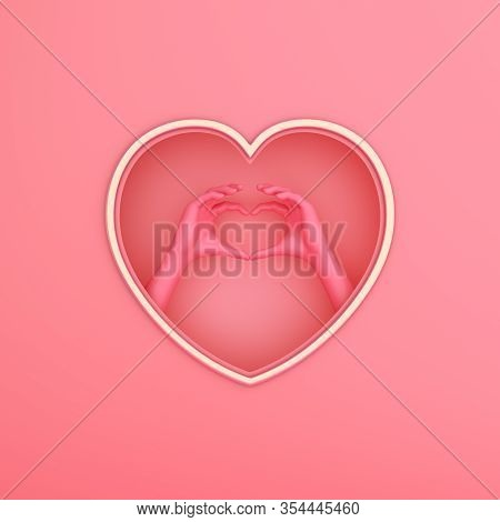 Happy Valentines Day, Valentines Day Background, Pink Gold Window Frame And Hand Heart Shape Paper C