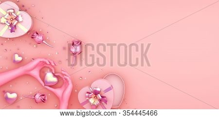 Happy Valentines Day, Valentines Day Background, Rose Flower Heart Shape Gift Box , Gold Confetti Gl