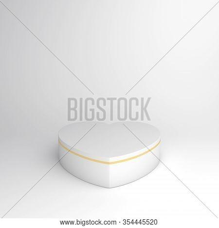 Happy Valentines Day, Valentines Day Display, White Gold Podium Display Heart Shape Background, Vale