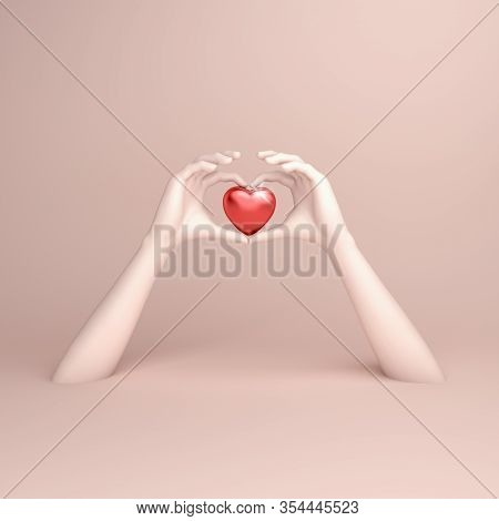 Happy Valentines Day, White Hands In Shape Of Heart, Valentines Day Background, Valentines Day Card,