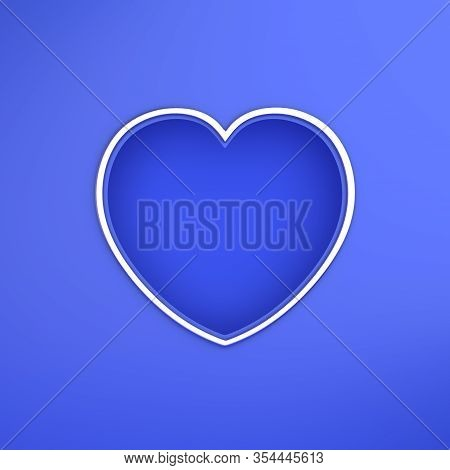 Happy Valentines Day, Valentines Day Background, Blue Gold Window Frame Heart Shape Paper Cut Backgr