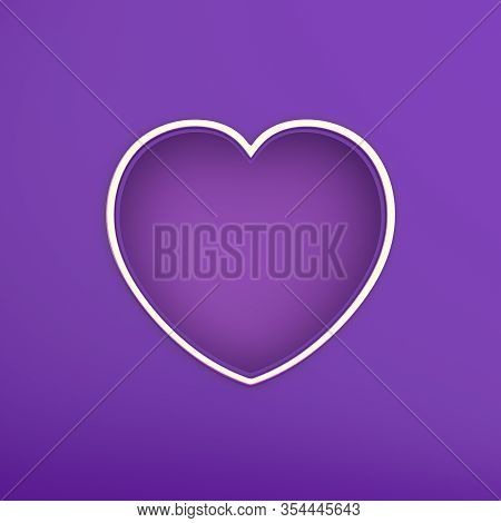 Happy Valentines Day, Valentines Day Background, Purple Gold Window Frame Heart Shape Paper Cut Back