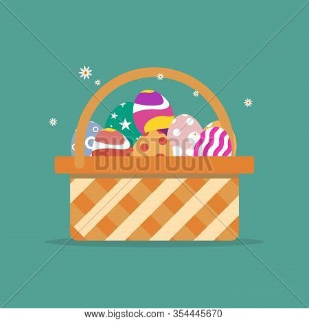 Basket With Easter Eggs Isolated On Green Background.illustration, Easter Eggs. Brown Easter Basket