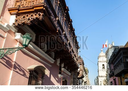 Beautiful Wooden Balconies With Intricate Detail Down Town Lima, Peru