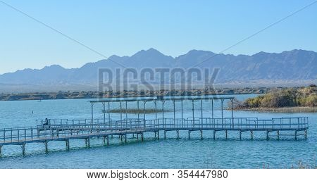 Walkway For The Viewing And Fishing Pier In Havasu National Wildlife Refuge On Lake Havasu. Mohave C