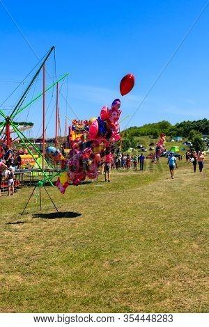 Dnepropetrovsk Region, Ukraine - June 2, 2018: Colorful Balloons For Sale During Ethno-rock Festival