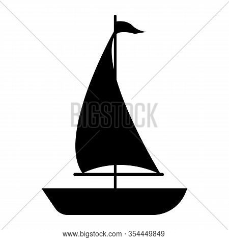 Sailboat Icon On White Background. Flat Style. Sailboat Icon For Your Web Site Design, Logo, App, Ui