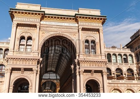 Milan, Italy - January 19, 2018: Arch At The Entrance To Galleria Vittorio Emanuele Ii