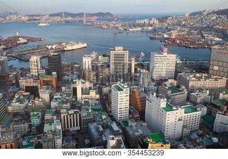 Busan, South Korea - March 14, 2018: Coastal Cityscape Of Busan City, Jung-gu District, Bird Eye Vie