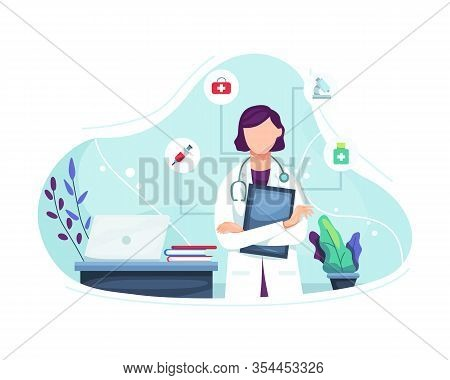Vector Illustration Female Doctor Portrait. Illustration Of Female Doctor With Stethoscope, Friendly