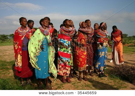 Group of Samburu Ladies, dancing in Kenya, Africa