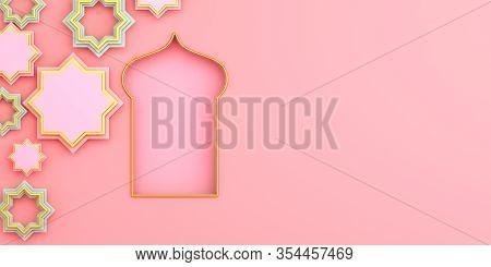 Islamic Background, Arabic Window On Pink Rose Background. Ramadan Kareem, Eid Al Fitr Adha, Copy Sp