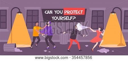 Self Defense Bully Flat Composition With Text And Backstreet Scenery With People Struggling Against