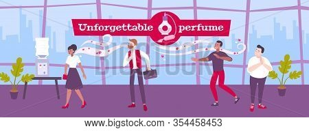 Perfume Smell Background With Unforgettable Perfume Symbols Flat Vector Illustration